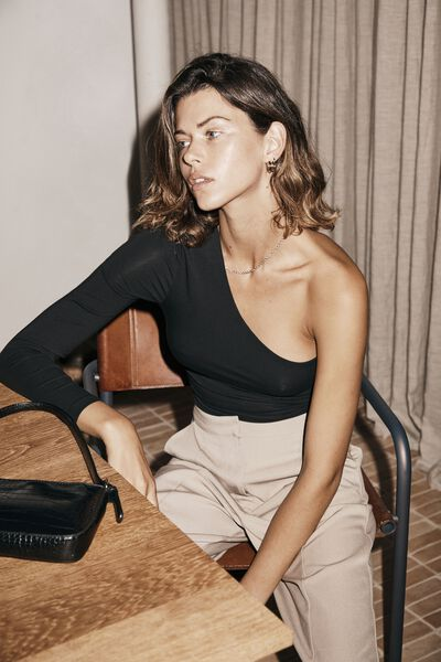 Evie One Shoulder Long Sleeve Top, BLACK