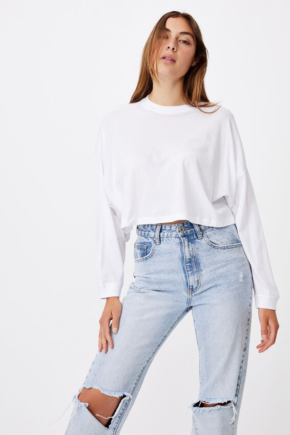 Kyle Batwing Long Sleeve Top, WHITE