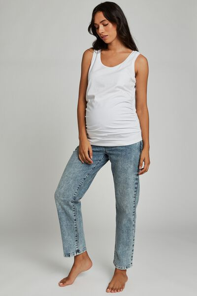 Maternity Straight Stretch Jean (Over Belly), CABARITA BLUE