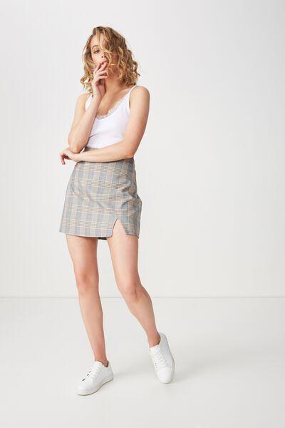 Woven Casual Mini Skirt, BLACK/INCA GOLD CHECK