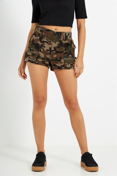 Cargo Military Short, FIRE CAMO OLIVE LEAF