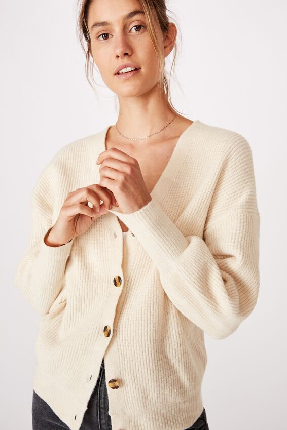 Too Cool For School Cardi, PARCHMENT