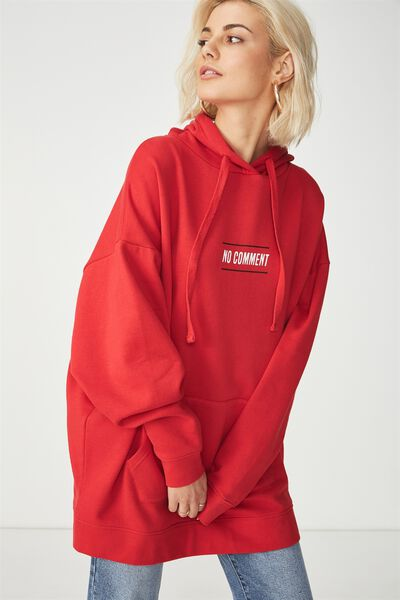 Clover Longline Graphic Hoodie, NO COMMENT/TANGO RED