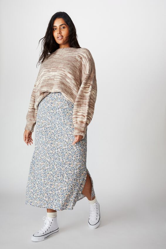 Curve 90S Slip Skirt, LIZ FLORAL FLINSTONE