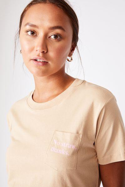 Classic Slogan T Shirt, NO STRAW/WARM STONE