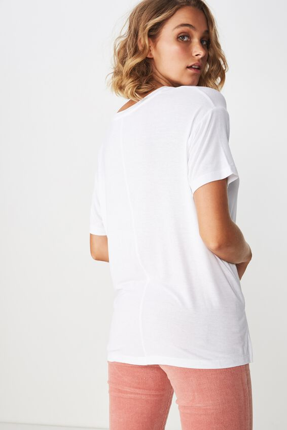 Ashleigh Extended Sleeve Rouched Tee, WHITE