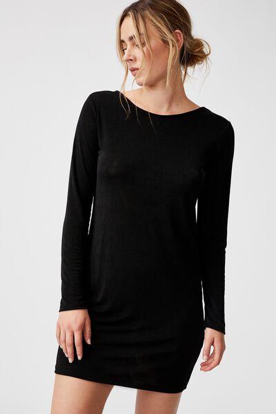 Bowie Slinky Open Back Long Sleeve Mini Dress, BLACK