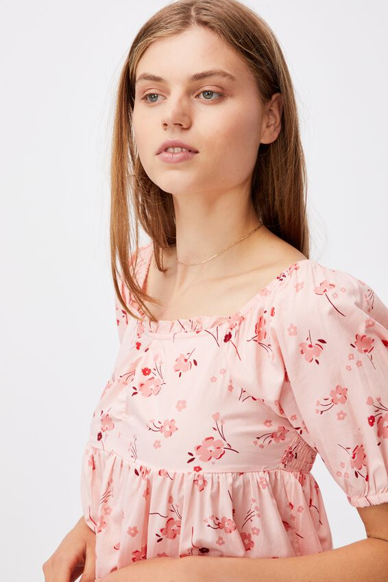 Woven Brooke Short Sleeve Ruched Front Mini Dress, SABRA FLORAL PEACHED PINK