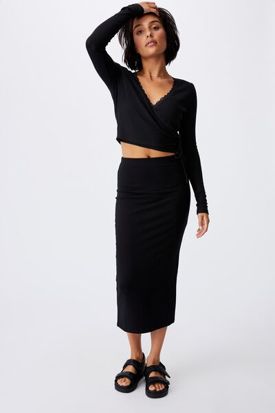 Essential Midi Skirt, BLACK