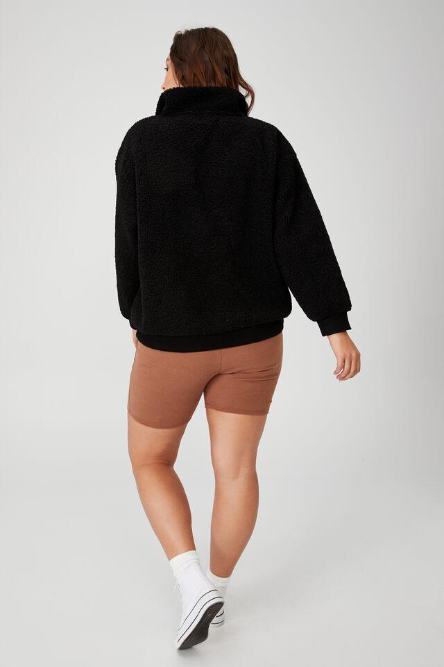 Curve Quarter Zip Through Teddy Pullover, BLACK