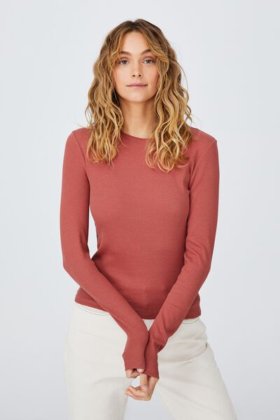 The Turn Back Long Sleeve Top, EARTHY RED