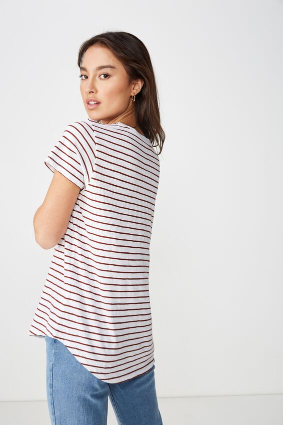 The Crew T Shirt, LEE STRIPE WHITE/CHERRY MAHOGANY