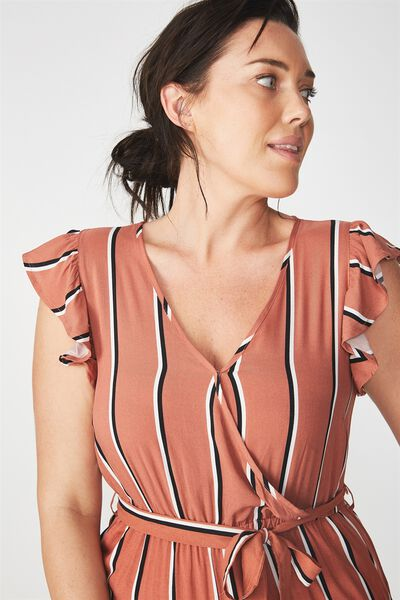 Woven Frankie V Neck Culotte Jumpsuit, GEMA STRIPE COPPER BROWN/BLACK/WHITE VERTICAL