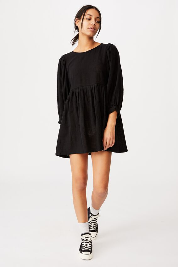 Woven Carly Smock Mini Dress, BLACK