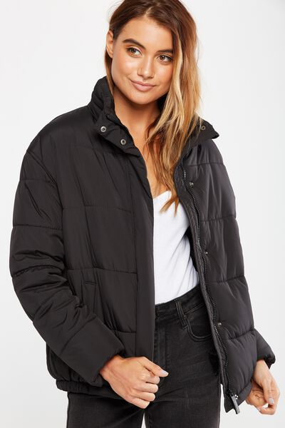 Tyra Cropped Fashion Puffer Jacket, BLACK
