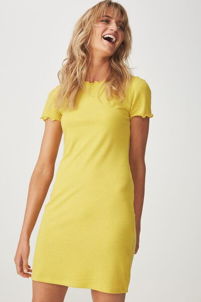 Gracie Lettuce Edge Tshirt Dress, ANTIQUE MOSS