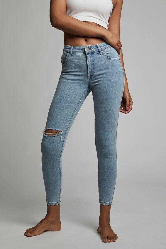 Mid Rise Cropped Skinny Jean, LENNOX BLUE RIP