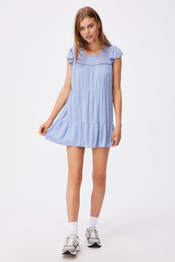 Woven Ivy Frill Sleeve Mini Dress, VINTAGE BLUE