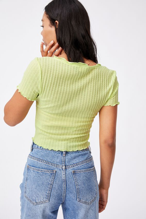 Avery Short Sleeve Frill Cardi, CELERY GREEN