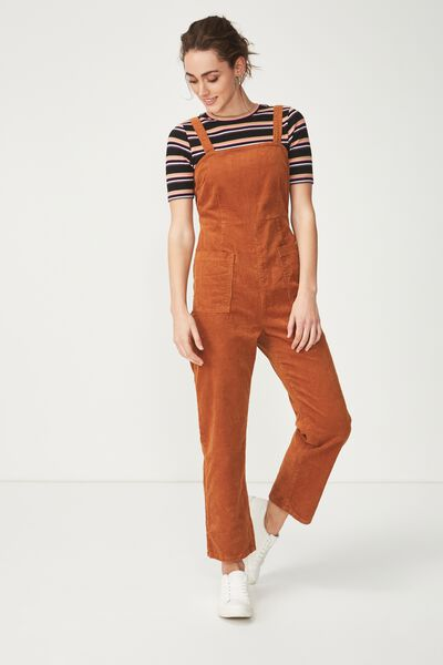 Pinafore Jumpsuit, TOBACCO CORD