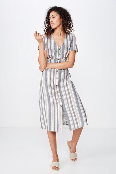 Woven Cherry Button Front S/S Midi Dress, LYDIA STRIPE MOOD INDIGO