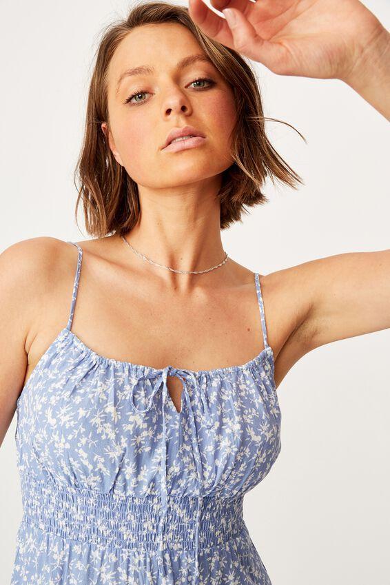 Woven Elsie Strappy Mini Dress, EDITH SPRIG VINTAGE BLUE