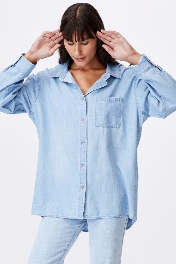 Boyfriend Shirt, WASHED SKY BLUE