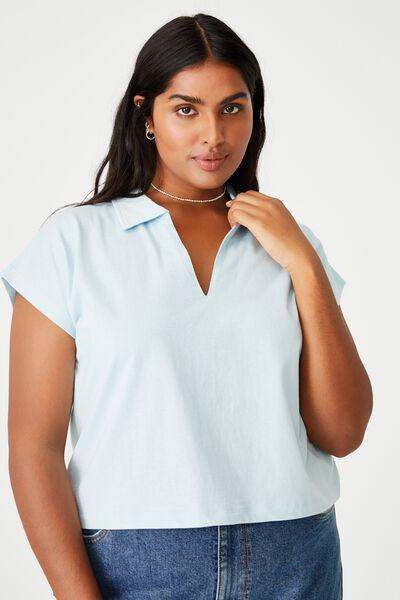 Curve Romi Short Sleeve Polo Top, DAISY BLUE