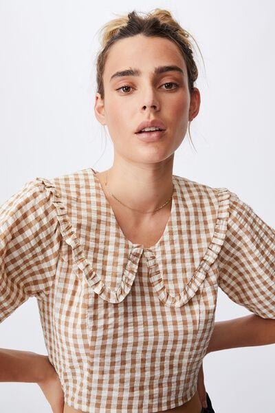 Lulu Frill Collar Shirred Blouse, GERI GINGHAM BRONZED CAMEL/PASTRY