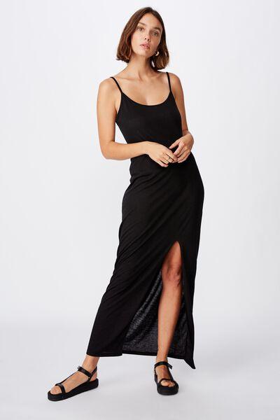 Alessandra Strappy Split Front Midi Dress, BLACK