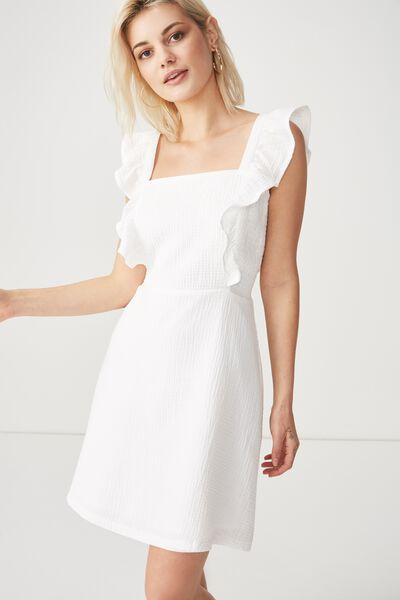 Woven Primrose Praire Pinafore Dress, WHITE