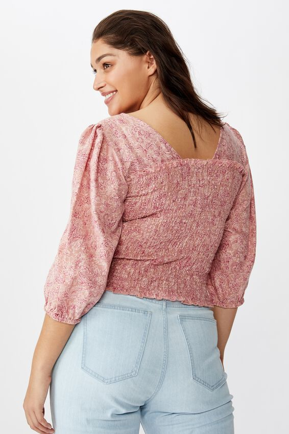 Curve Puff Sleeve Shirred Top, ANNA FLORAL PAISLEY MISTY ROSE