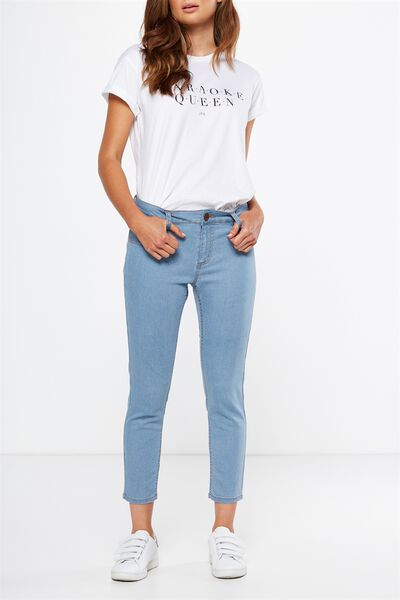 Mid Rise Capri Jegging, RAILROAD STRIPE LIGHT BLUE