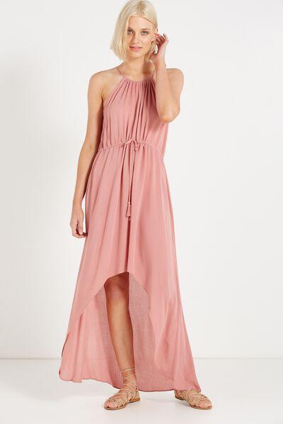 Woven Elliot High Neck Maxi Dress, ANTIQUE MAUVE