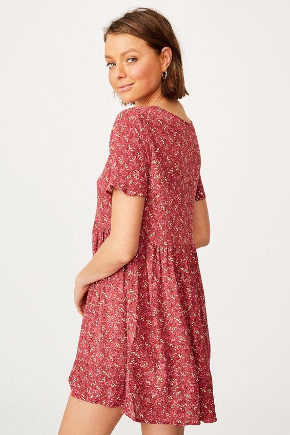 The Good Times Babydoll Mini Dress, RAMONA SPRIG SPOT CRIMSON PINK