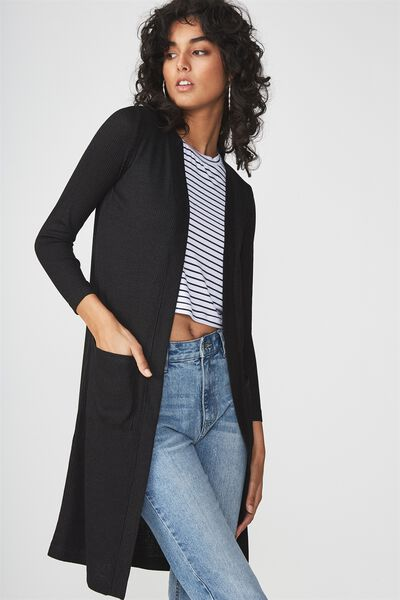 Asha Pocket Cardigan, BLACK