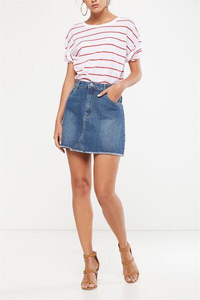 The Re-Made Mini Denim Skirt, MID BLUE STONE RIOT
