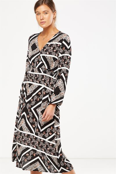 Woven Kaylee Long Sleeve Midi Dress, LIZZY SCARF BLACK