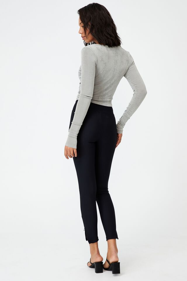 Bowie Rouched Front Long Sleeve Top, ZODIAC GREY
