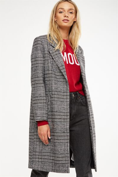 Mid Length Coat, BLACK CHECK