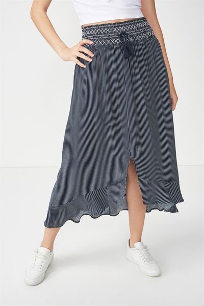 Woven Hayley High Low Midi Skirt, DANI STRIPE DEEPEST NAVY