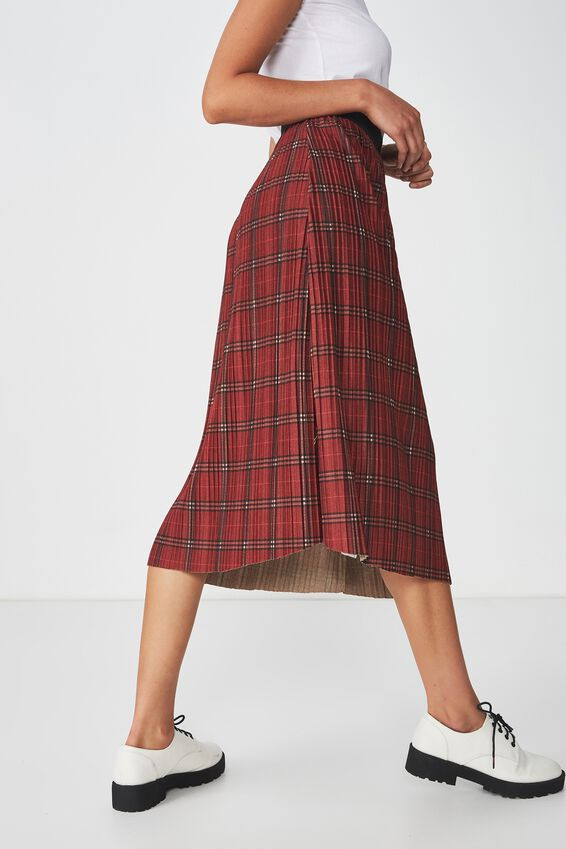 Woven Dolly Check Pleated Midi Skirt, RED CHECK