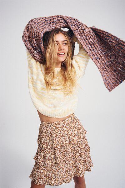 Byron Tiered Mini Skirt, LIZ MULTI FLORAL MID BROWN