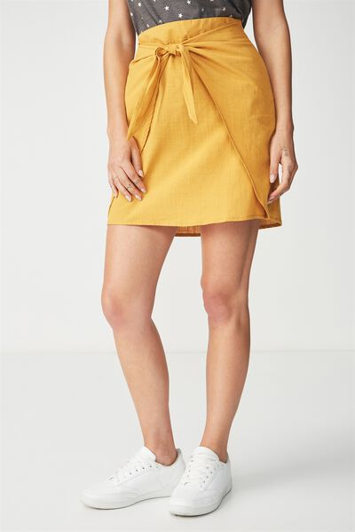 Woven Kelly Knot Front Mini Skirt, SPRUCE YELLOW