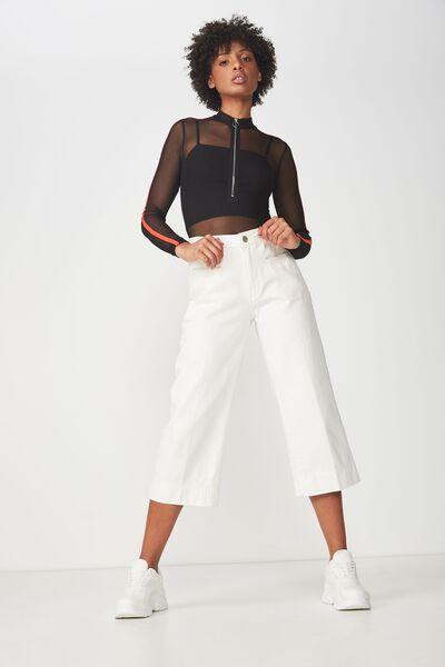 A Mesh Long Sleeve Zipper Bodysuit, BLACK/FLAME SCARLET