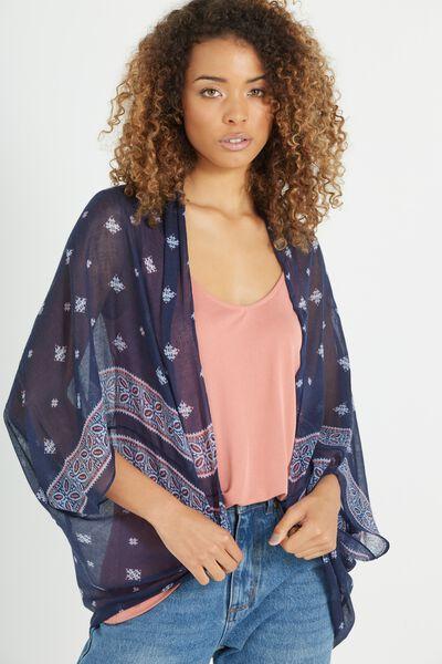 Trixy Cocoon Kimono, DELI BORDER PEACOAT