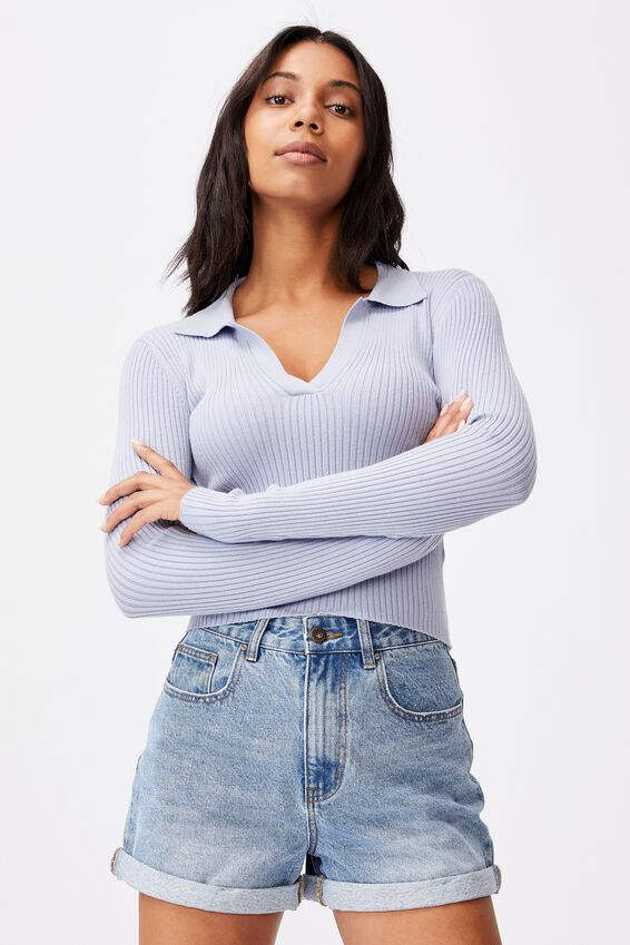 Long Sleeve Knit Rib Polo, SILVER BLUE