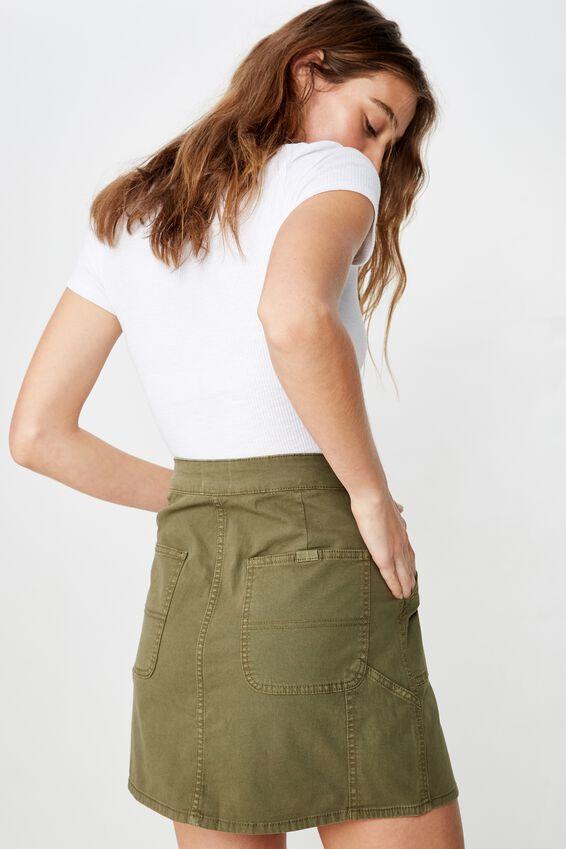 Kasha Utility Mini Skirt, WASHED WINTER MOSS