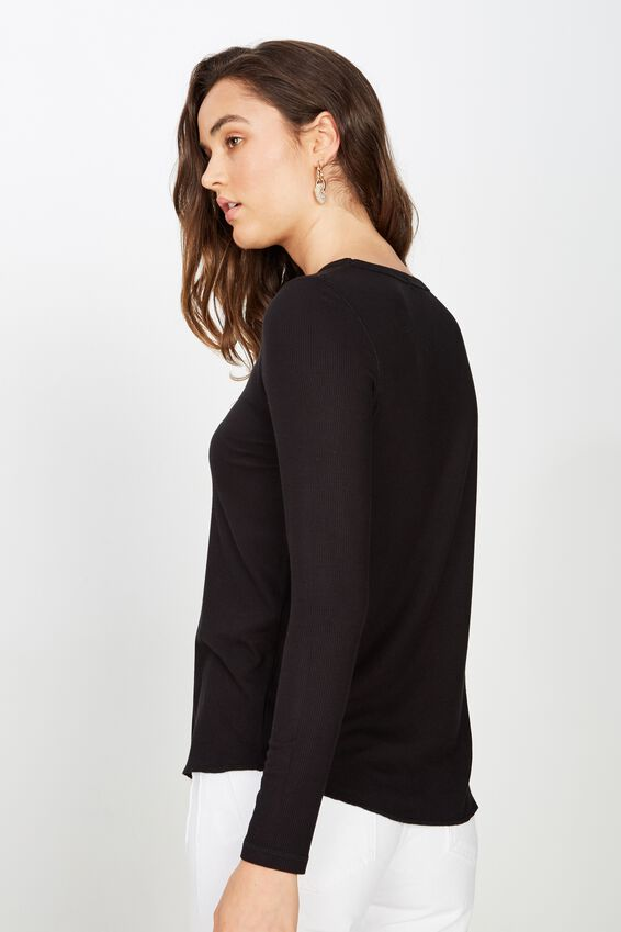The Girlfriend Long Sleeve Top, BLACK