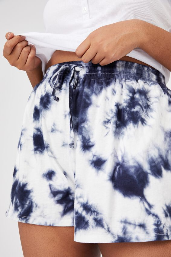 Curve Jersey Bed Short, NAVY TIE DYE